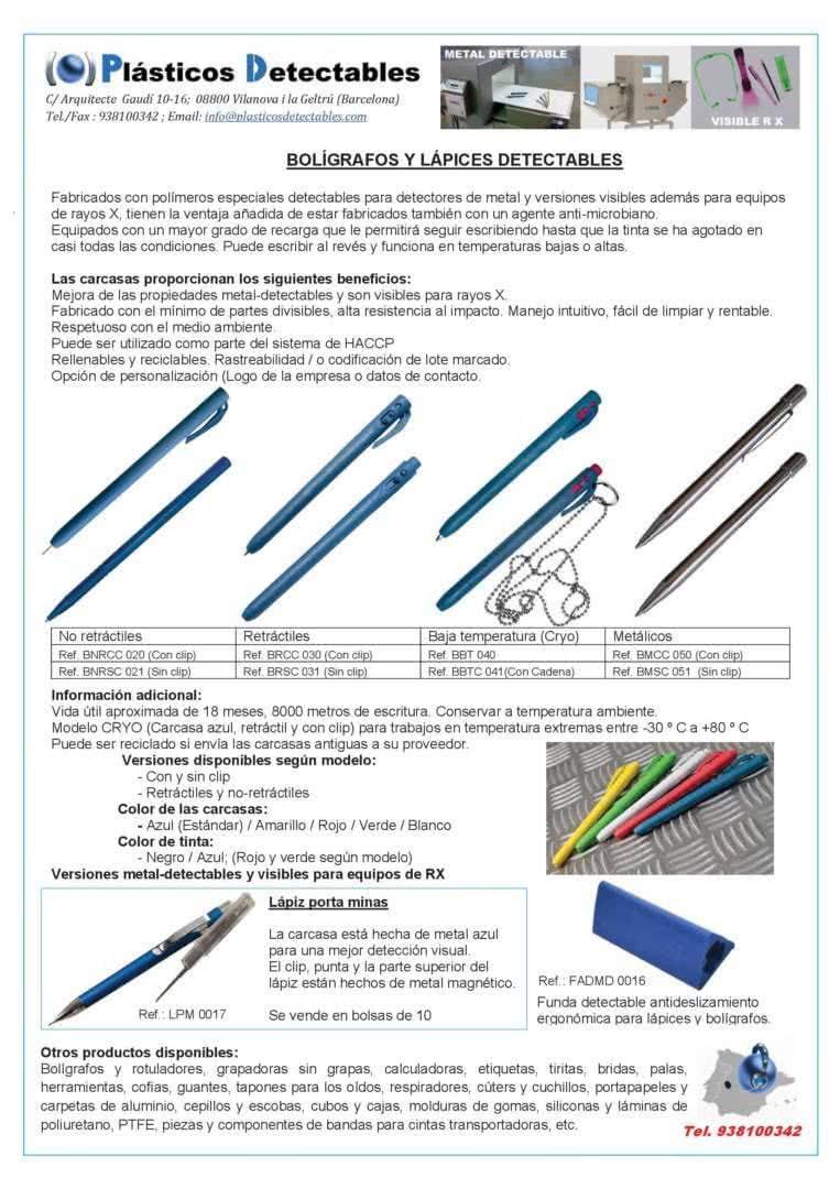 Catálogo general - Plásticos Detectables